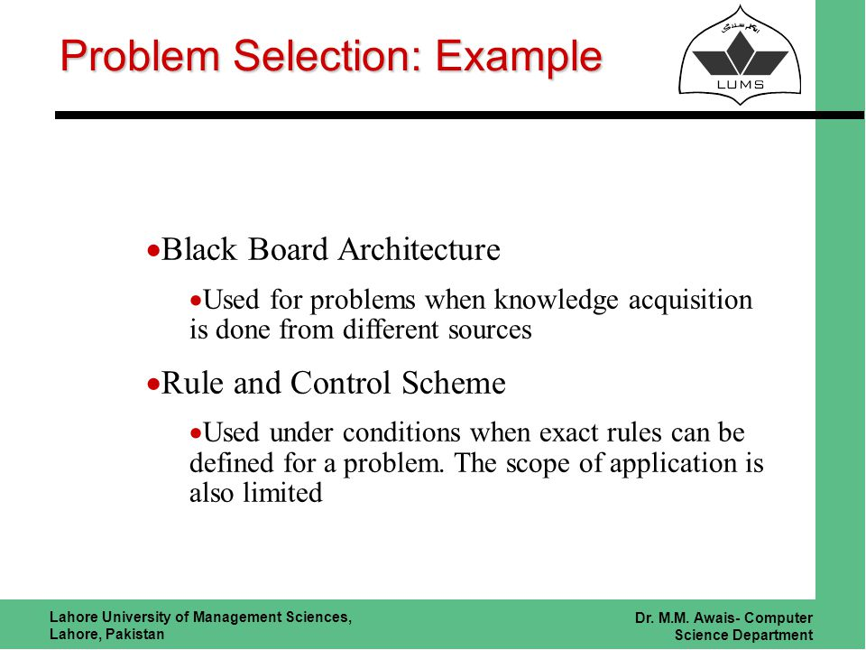 Lahore University of Management Sciences, Lahore, Pakistan Dr. M.M. Awais- Computer Science Department Problem Selection: Example Black Board Architec