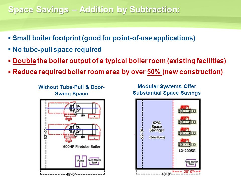 Space Savings – Addition by Subtraction: Small boiler footprint (good for point-of-use applications) No tube-pull space required Double the boiler out