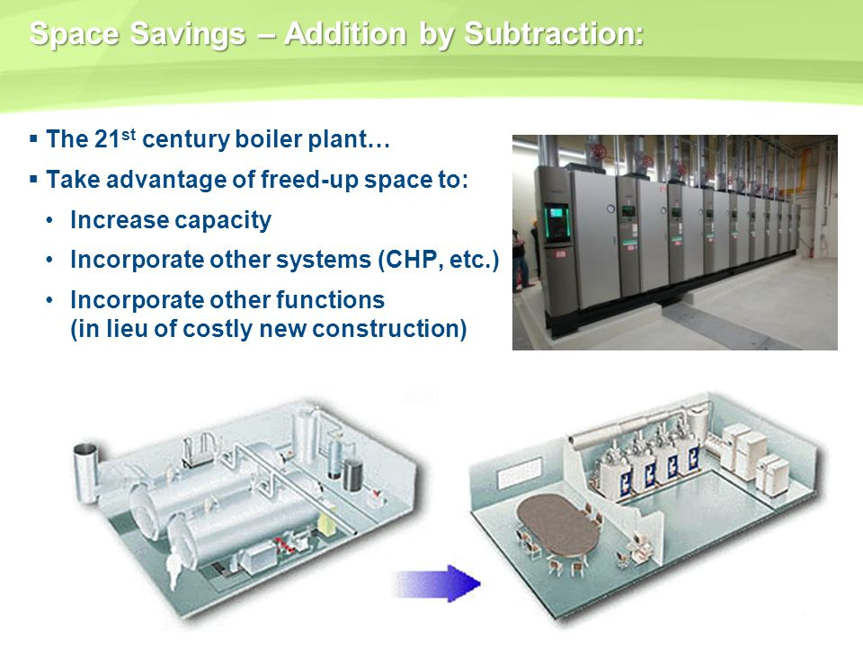 Space Savings – Addition by Subtraction: The 21 st century boiler plant… Take advantage of freed-up space to: Increase capacity Incorporate other syst