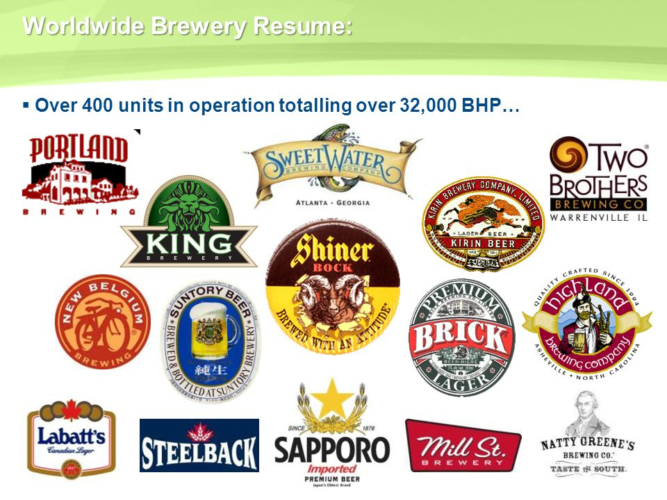 Worldwide Brewery Resume: Over 400 units in operation totalling over 32,000 BHP…