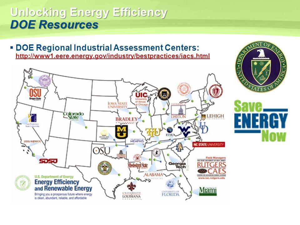 Unlocking Energy Efficiency DOE Resources DOE Regional Industrial Assessment Centers: http://www1.eere.energy.gov/industry/bestpractices/iacs.html htt