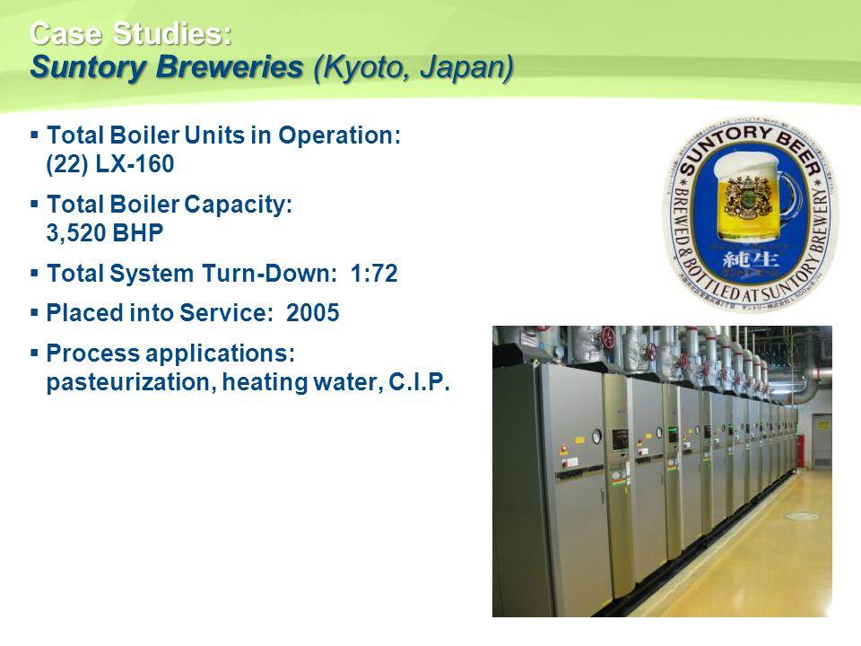 Case Studies: Suntory Breweries (Kyoto, Japan) Total Boiler Units in Operation: (22) LX-160 Total Boiler Capacity: 3,520 BHP Total System Turn-Down: 1