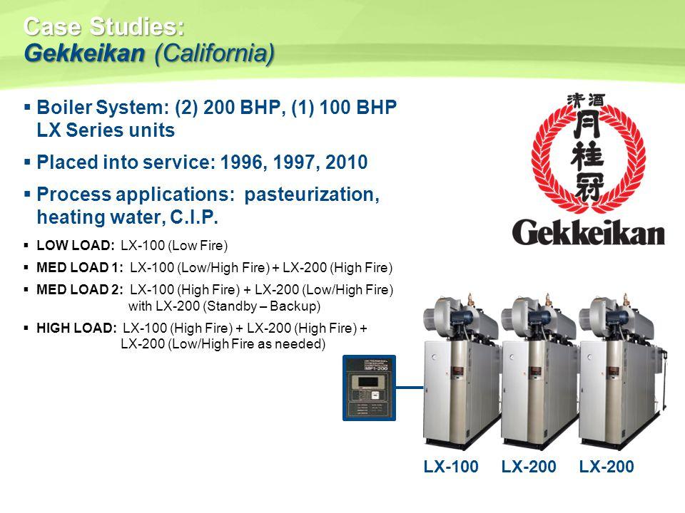 Case Studies: Gekkeikan(California) Case Studies: Gekkeikan (California) Boiler System: (2) 200 BHP, (1) 100 BHP LX Series units Placed into service: