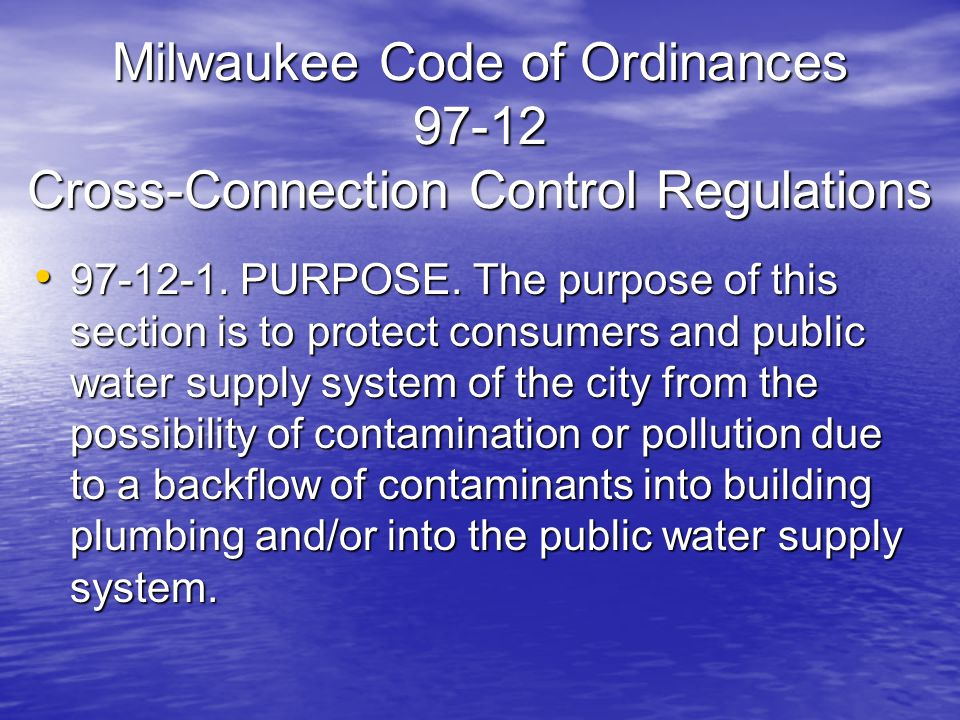 Milwaukee Code of Ordinances Cross-Connection Control Regulations
