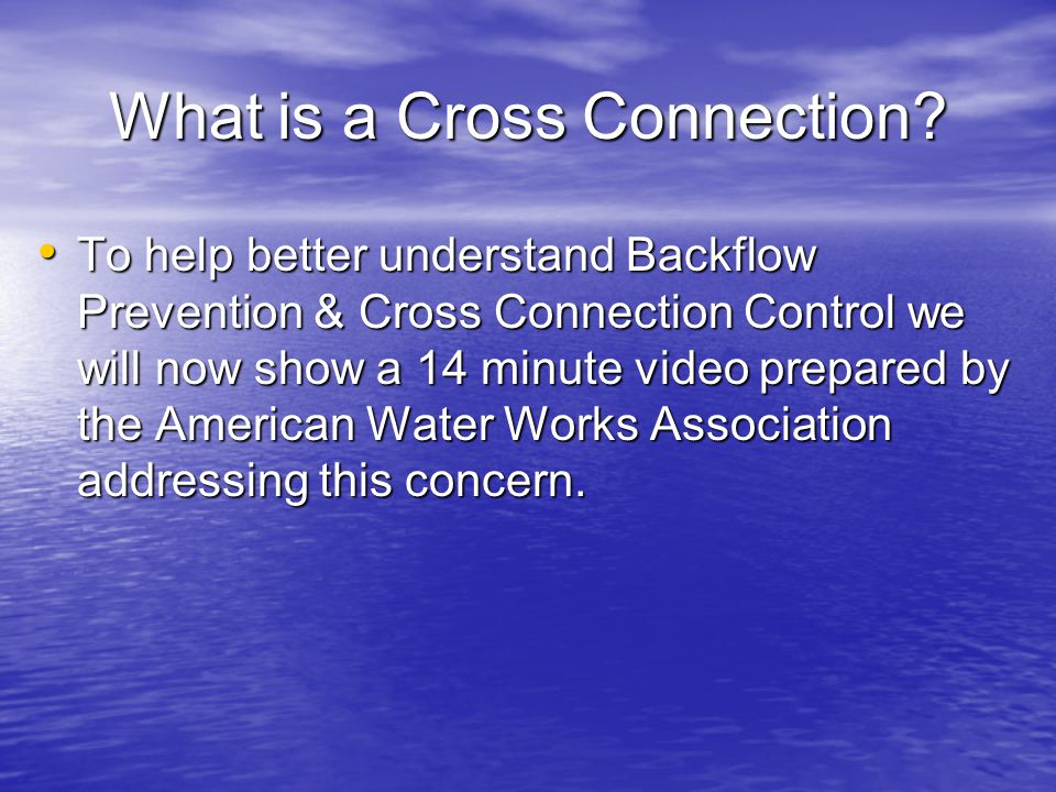 What is a Cross Connection.