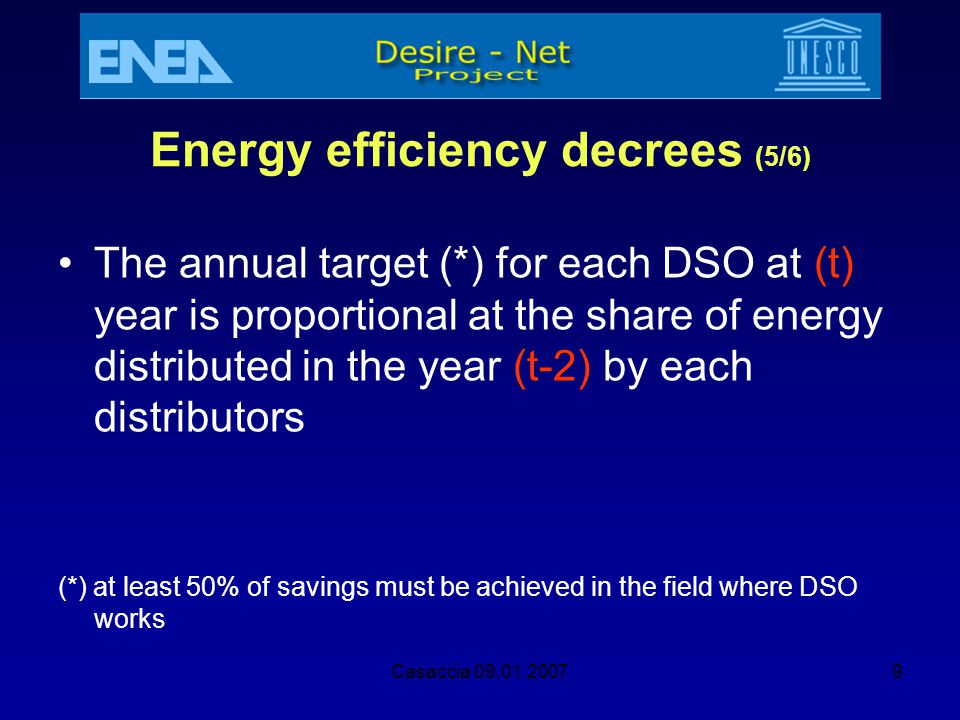 Casaccia 09.01.20079 Energy efficiency decrees (5/6) The annual target (*) for each DSO at (t) year is proportional at the share of energy distributed