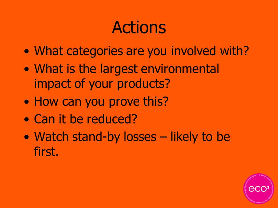 Actions What categories are you involved with.