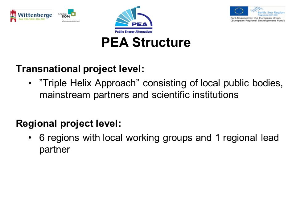 Transnational project level: Triple Helix Approach consisting of local public bodies, mainstream partners and scientific institutions Regional project