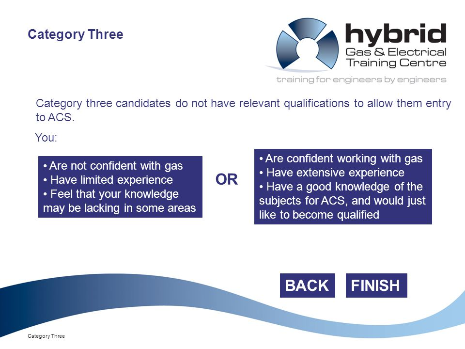 Category Three Category three candidates do not have relevant qualifications to allow them entry to ACS.