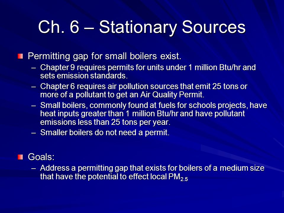 Ch. 6 – Stationary Sources Permitting gap for small boilers exist.