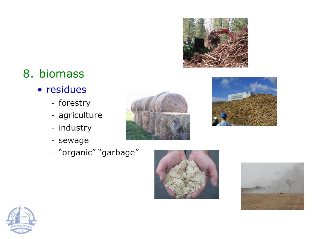 8.biomass residues forestry agriculture industry sewage organic garbage