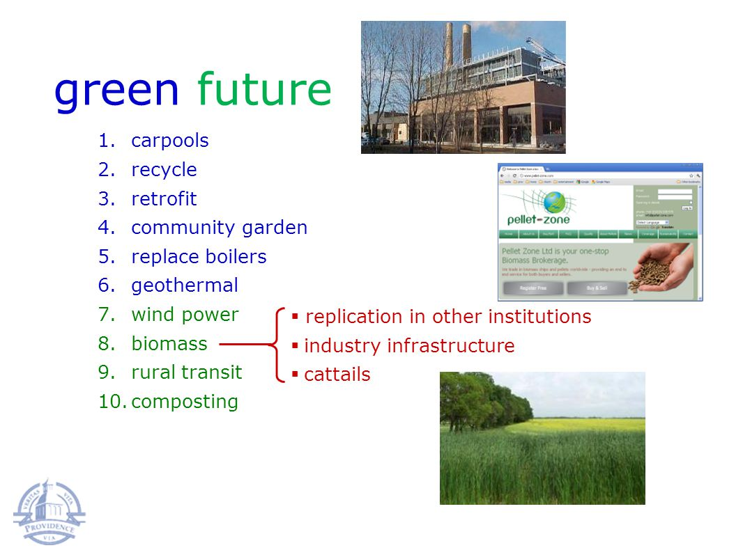 green future 1.carpools 2.recycle 3.retrofit 4.community garden 5.replace boilers 6.geothermal 7.wind power 8.biomass 9.rural transit 10.composting replication in other institutions industry infrastructure cattails