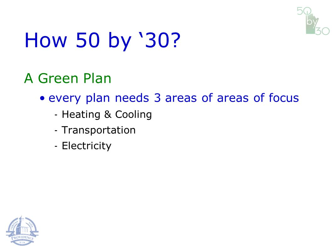 A Green Plan every plan needs 3 areas of areas of focus Heating & Cooling Transportation Electricity How 50 by 30?