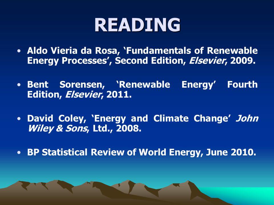 READING Aldo Vieria da Rosa, Fundamentals of Renewable Energy Processes, Second Edition, Elsevier, 2009.