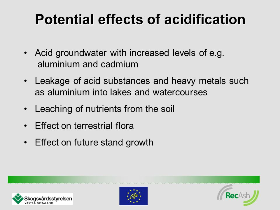 Potential effects of acidification Acid groundwater with increased levels of e.g.