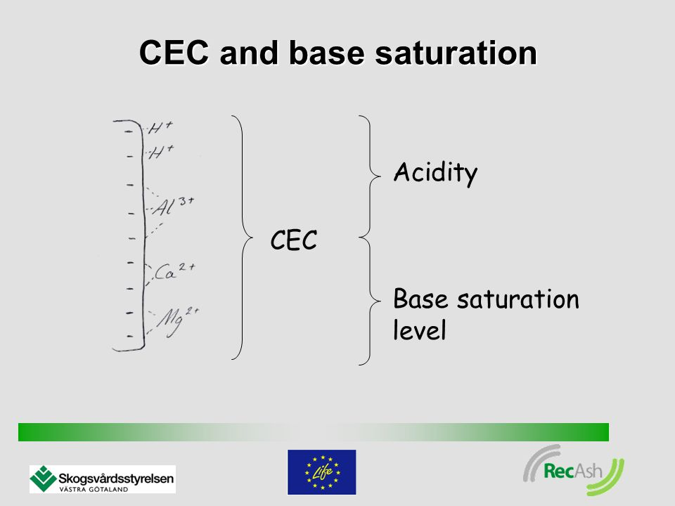 Cation exchange The amount of acid substances increases in the soil fluid Soil particles Nutrients are forced out from the soil participles into the soil fluid Soil fluid