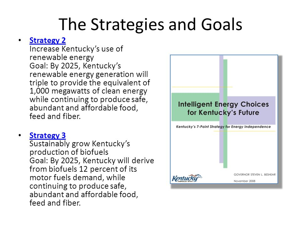 The Strategies and Goals Strategy 2 Increase Kentuckys use of renewable energy Goal: By 2025, Kentuckys renewable energy generation will triple to provide the equivalent of 1,000 megawatts of clean energy while continuing to produce safe, abundant and affordable food, feed and fiber.