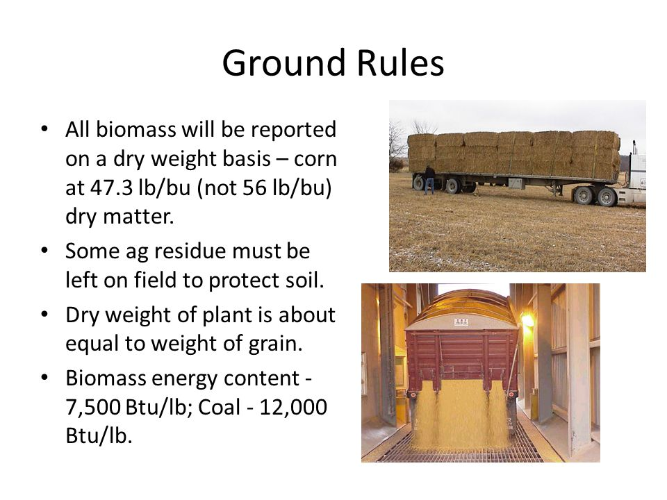 Ground Rules All biomass will be reported on a dry weight basis – corn at 47.3 lb/bu (not 56 lb/bu) dry matter.