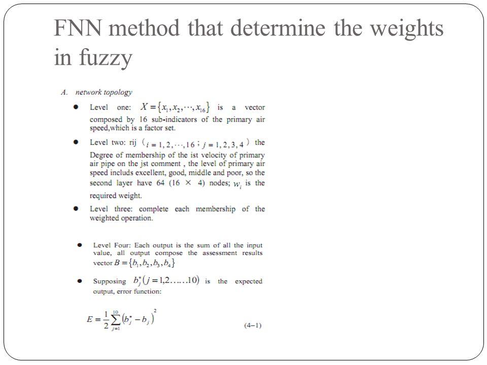 FNN method that determine the weights in fuzzy