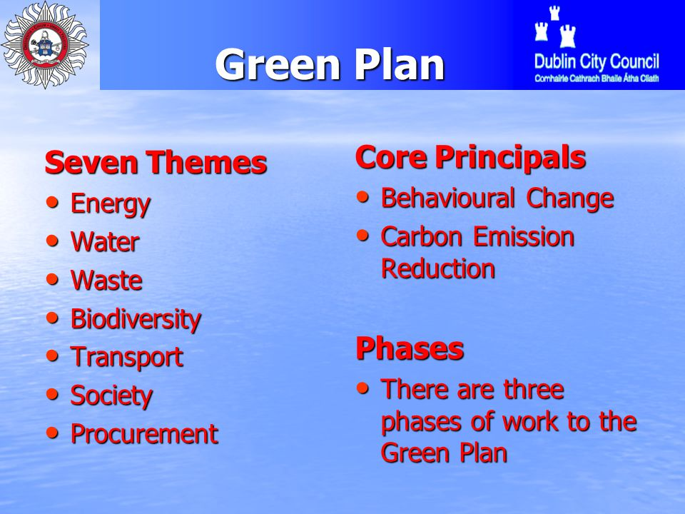 Green Plan Green Plan Seven Themes Energy Energy Water Water Waste Waste Biodiversity Biodiversity Transport Transport Society Society Procurement Procurement Core Principals Behavioural Change Behavioural Change Carbon Emission Reduction Carbon Emission ReductionPhases There are three phases of work to the Green Plan There are three phases of work to the Green Plan