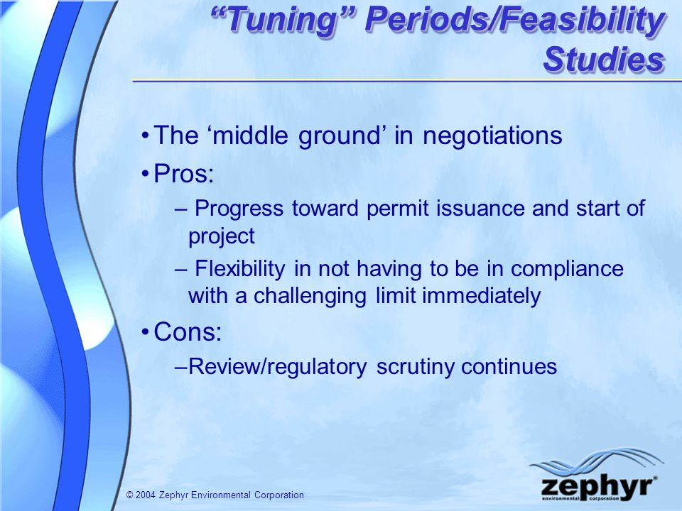 © 2004 Zephyr Environmental Corporation The middle ground in negotiations Pros: – Progress toward permit issuance and start of project – Flexibility i