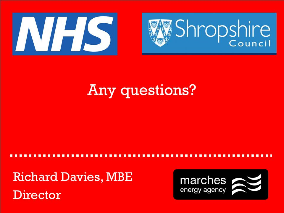 Any questions? Richard Davies, MBE Director
