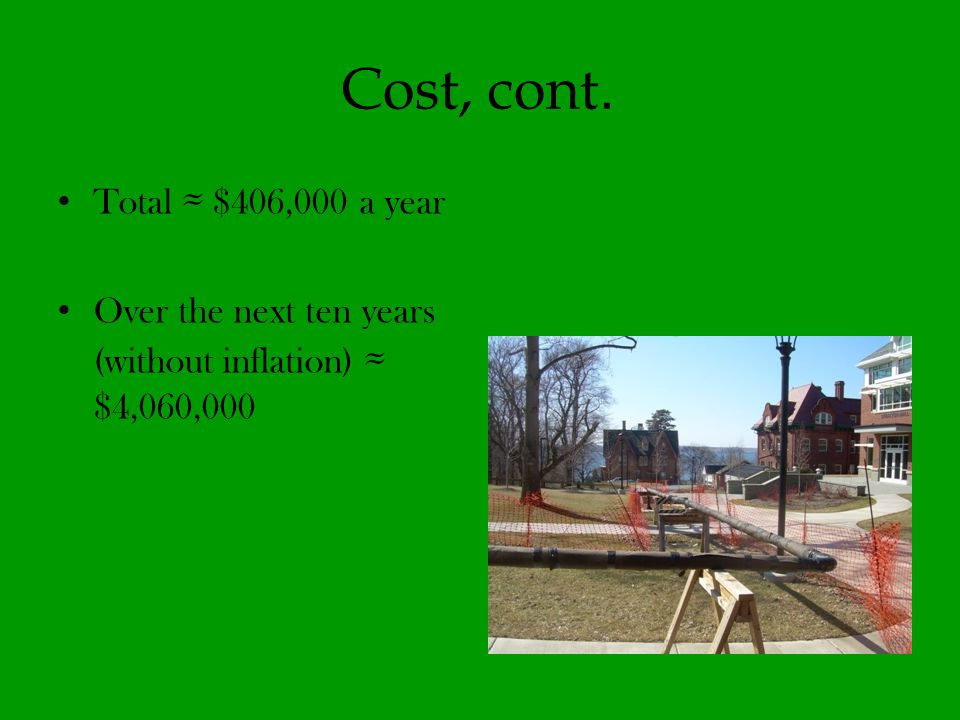 Cost, cont. Total $406,000 a year Over the next ten years (without inflation) $4,060,000