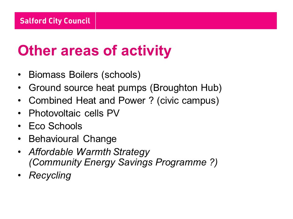 Other areas of activity Biomass Boilers (schools) Ground source heat pumps (Broughton Hub) Combined Heat and Power .