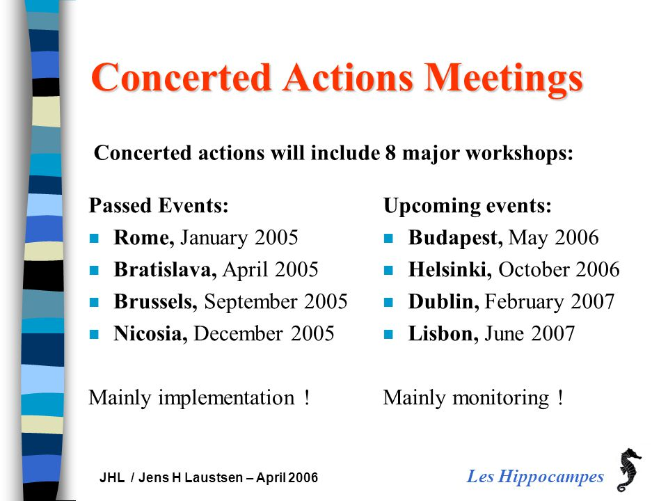 Les Hippocampes JHL / Jens H Laustsen – April 2006 Concerted Actions Meetings Passed Events: n Rome, January 2005 n Bratislava, April 2005 n Brussels,