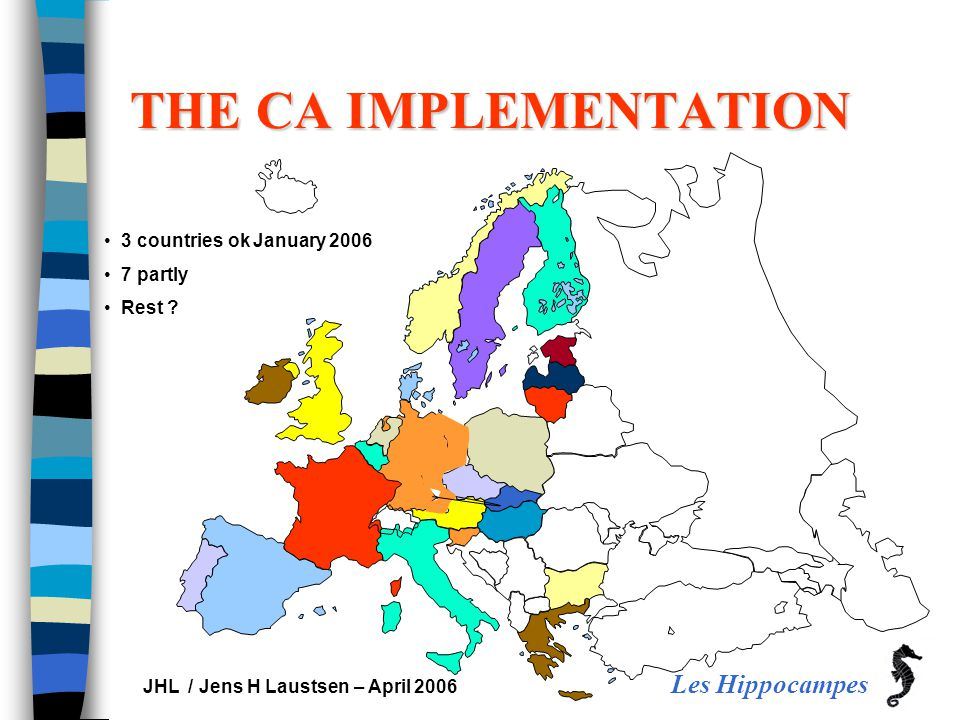 Les Hippocampes JHL / Jens H Laustsen – April 2006 THE CA IMPLEMENTATION 3 countries ok January 2006 7 partly Rest ?