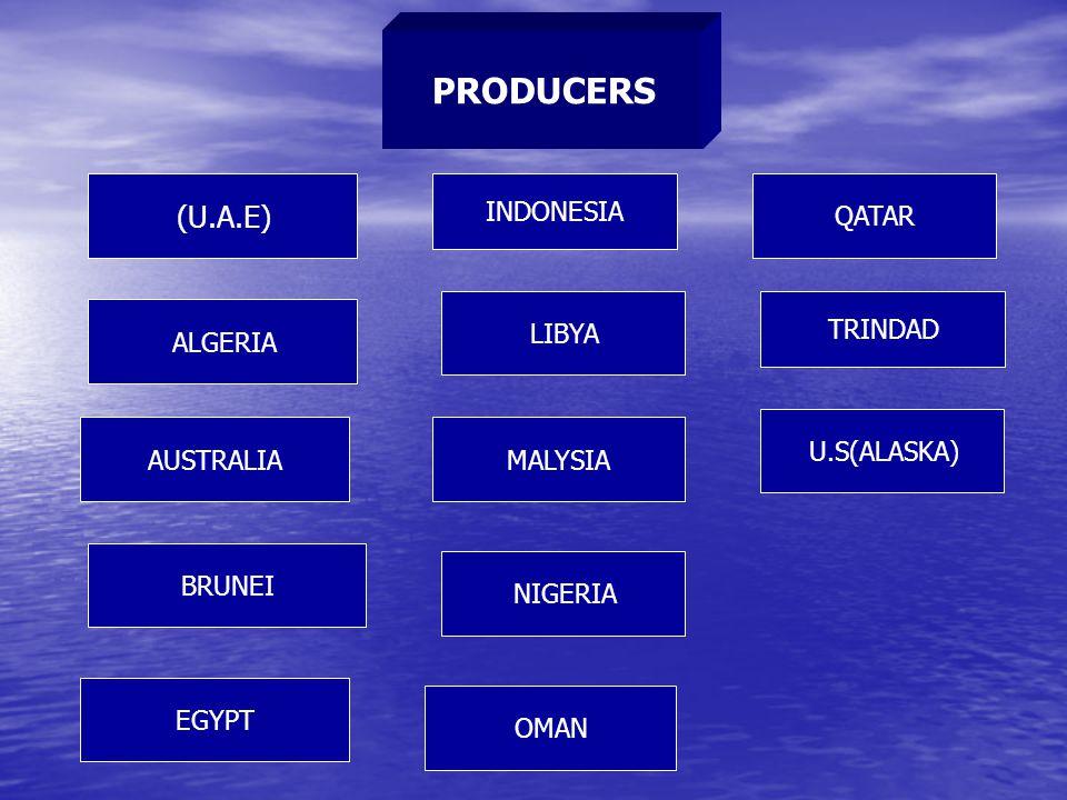 PRODUCERS (U.A.E) ALGERIA AUSTRALIA BRUNEI EGYPT INDONESIA LIBYA MALYSIA QATAR OMAN TRINDAD U.S(ALASKA) NIGERIA