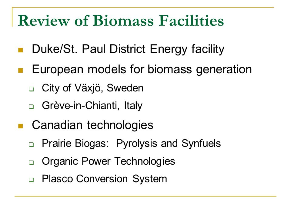 Review of Biomass Facilities Duke/St.
