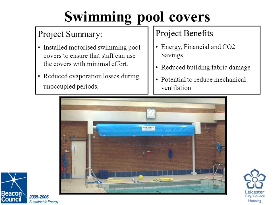 Swimming pool covers Project Summary: Installed motorised swimming pool covers to ensure that staff can use the covers with minimal effort.
