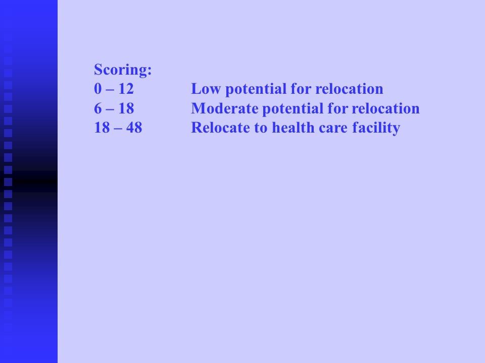 Scoring: 0 – 12Low potential for relocation 6 – 18Moderate potential for relocation 18 – 48Relocate to health care facility