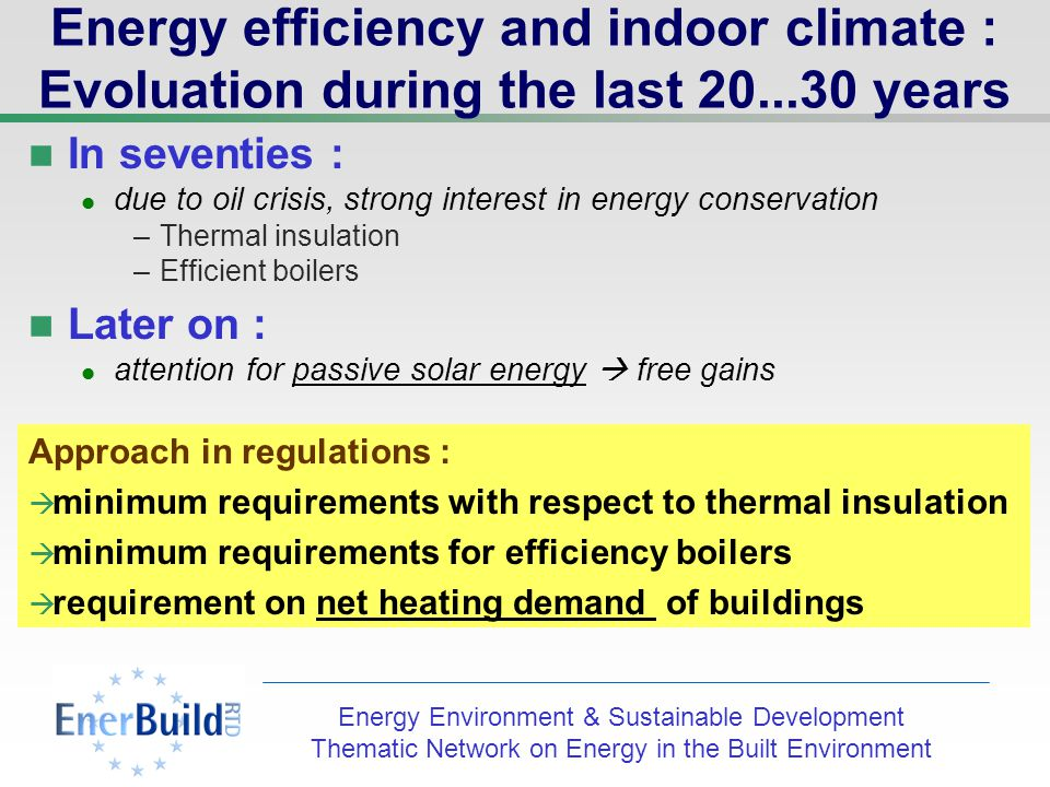Energy Environment & Sustainable Development Thematic Network on Energy in the Built Environment Energy efficiency and indoor climate : Evoluation during the last years In seventies : due to oil crisis, strong interest in energy conservation –Thermal insulation –Efficient boilers Approach in regulations : minimum requirements with respect to thermal insulation minimum requirements for efficiency of boilers