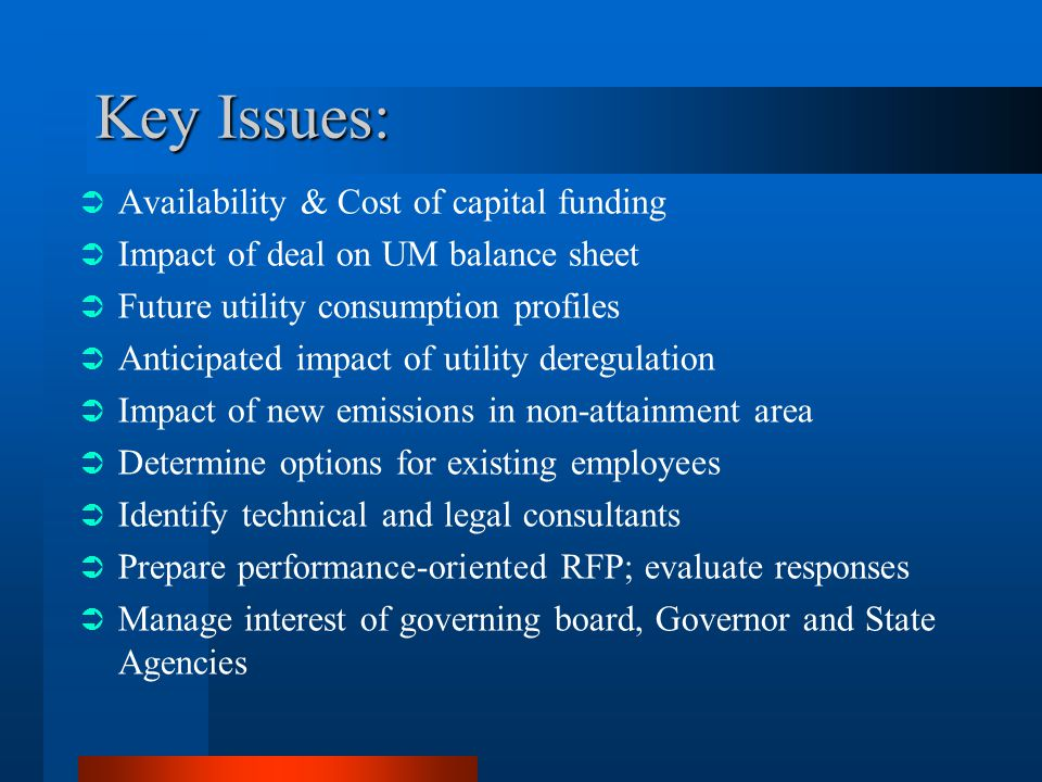 Key Issues: Availability & Cost of capital funding Impact of deal on UM balance sheet Future utility consumption profiles Anticipated impact of utility deregulation Impact of new emissions in non-attainment area Determine options for existing employees Identify technical and legal consultants Prepare performance-oriented RFP; evaluate responses Manage interest of governing board, Governor and State Agencies