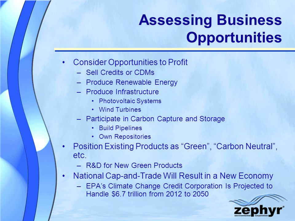 Assessing Business Opportunities Consider Opportunities to Profit –Sell Credits or CDMs –Produce Renewable Energy –Produce Infrastructure Photovoltaic Systems Wind Turbines –Participate in Carbon Capture and Storage Build Pipelines Own Repositories Position Existing Products as Green, Carbon Neutral, etc.