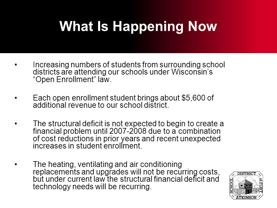 What Is Happening Now Increasing numbers of students from surrounding school districts are attending our schools under Wisconsins Open Enrollment law.
