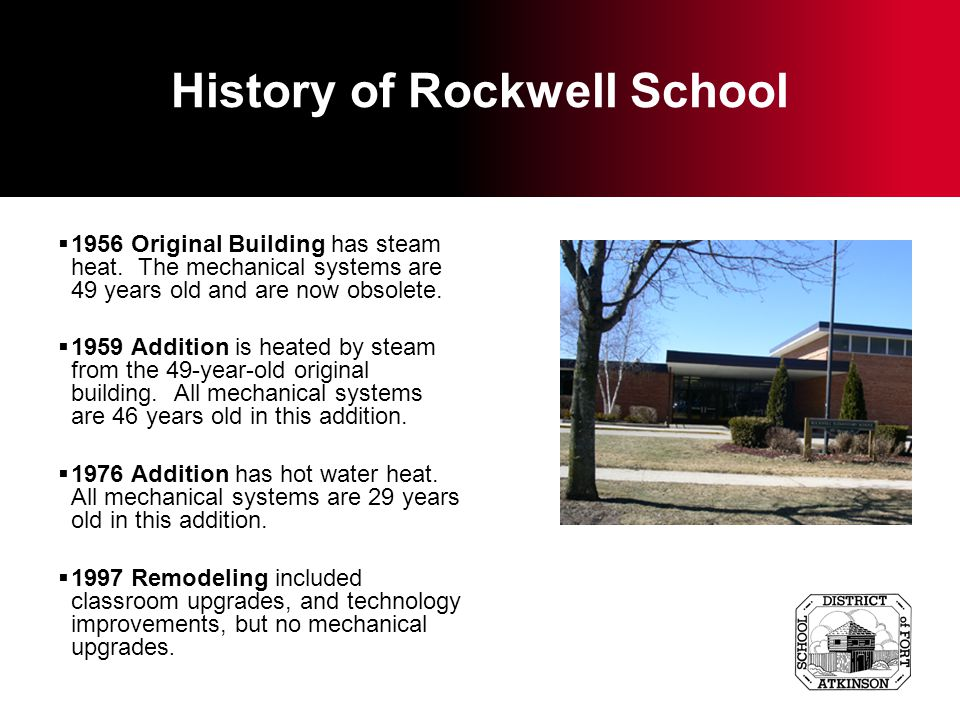 History of the Middle School Original 1911 building has been replaced except for the steam boilers which originally used coal for fuel.