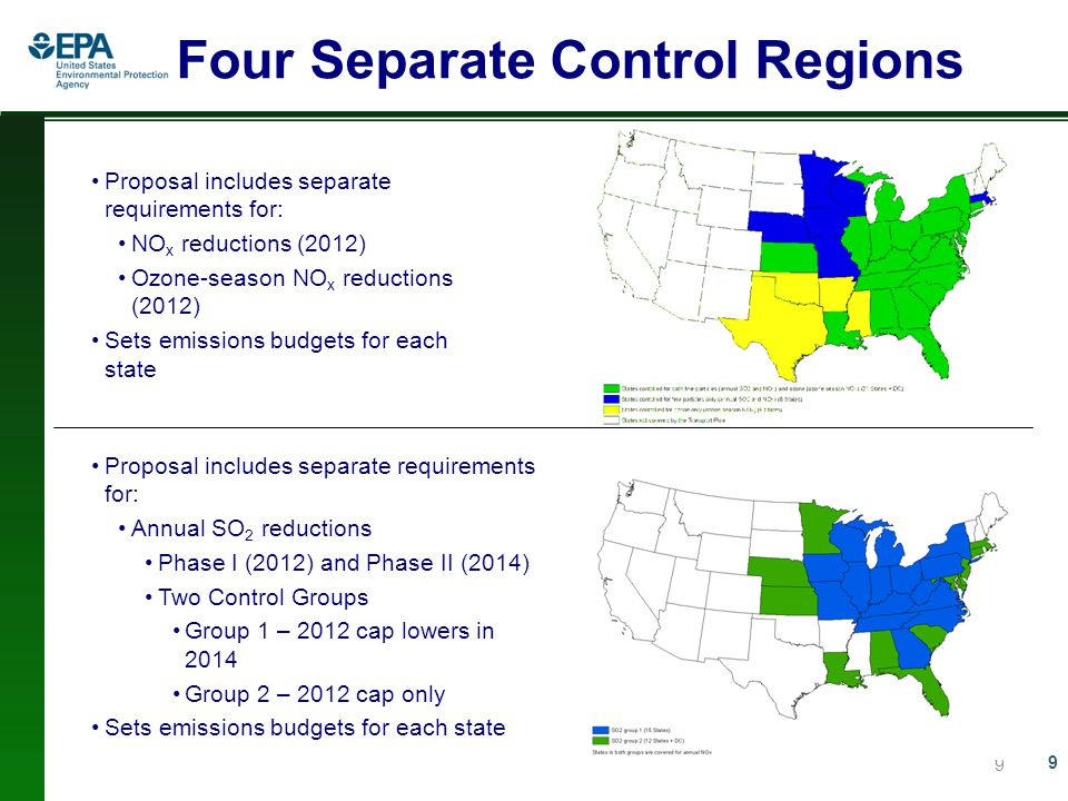 9 Four Separate Control Regions 9 Proposal includes separate requirements for: NO x reductions (2012) Ozone-season NO x reductions (2012) Sets emissions budgets for each state Proposal includes separate requirements for: Annual SO 2 reductions Phase I (2012) and Phase II (2014) Two Control Groups Group 1 – 2012 cap lowers in 2014 Group 2 – 2012 cap only Sets emissions budgets for each state