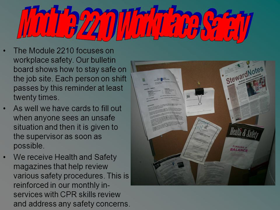 The Module 2210 focuses on workplace safety.