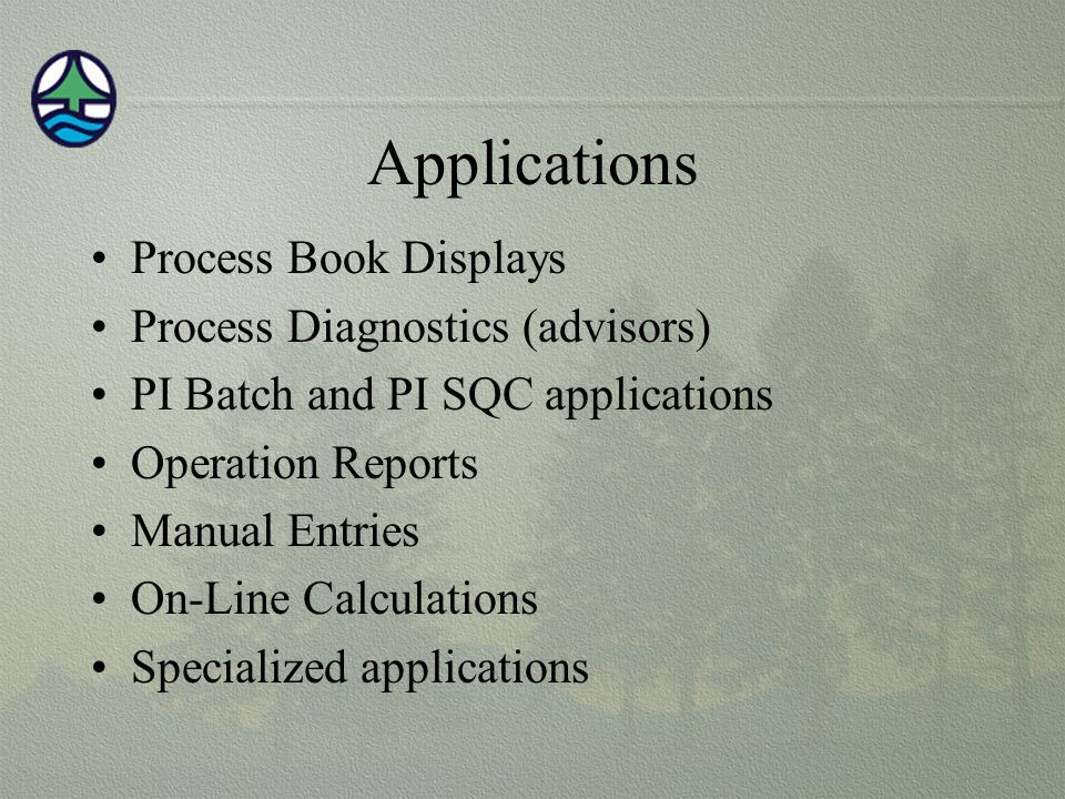 Applications Process Book Displays Process Diagnostics (advisors) PI Batch and PI SQC applications Operation Reports Manual Entries On-Line Calculations Specialized applications