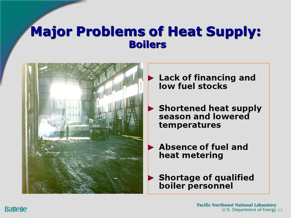 13 Major Problems of Heat Supply: Boilers Lack of financing and low fuel stocks Shortened heat supply season and lowered temperatures Absence of fuel and heat metering Shortage of qualified boiler personnel