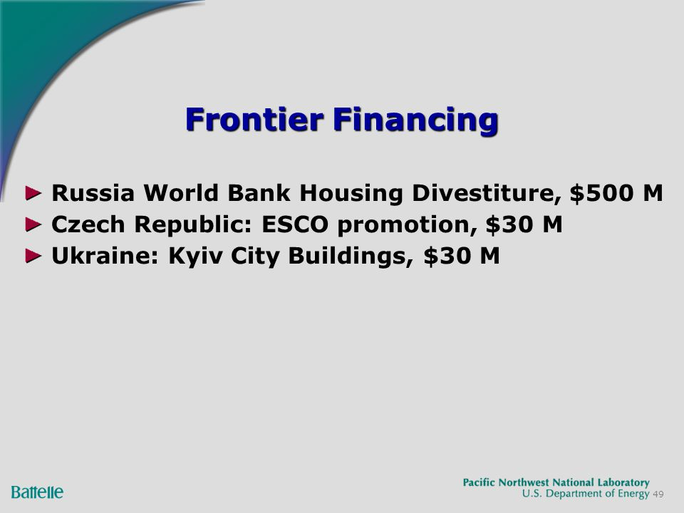 49 Frontier Financing Russia World Bank Housing Divestiture, $500 M Czech Republic: ESCO promotion, $30 M Ukraine: Kyiv City Buildings, $30 M