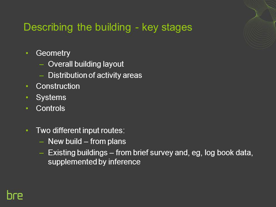 Describing the building - key stages Geometry –Overall building layout –Distribution of activity areas Construction Systems Controls Two different inp