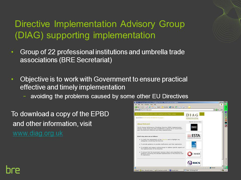 Directive Implementation Advisory Group (DIAG) supporting implementation Group of 22 professional institutions and umbrella trade associations (BRE Se