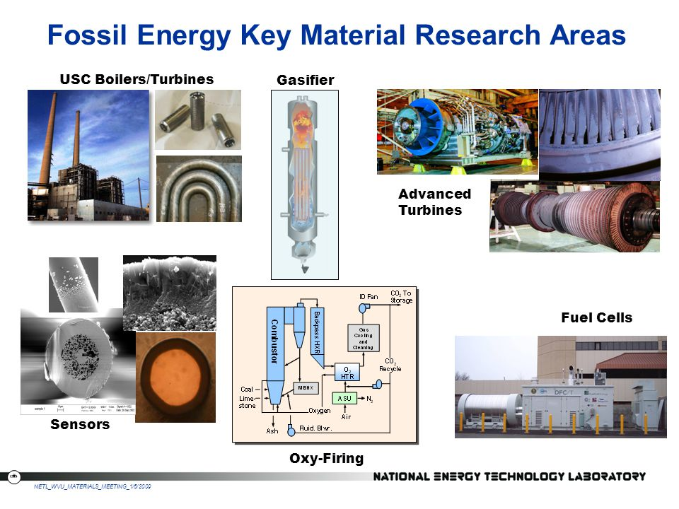 4 NETL_WVU_MATERIALS_MEETING_1/6/2009 Ultra-Clean Energy Plant Gasification & Combustion Gasification & Combustion Systems Integration System modeling Virtual Simulation Advanced Materials Instrumentation Sensors & Controls UltraSuperCritical Materials Gas Stream Cleanup Devices Advanced Alloys Seals & Electrodes for Fuel Cells ODS Coatings Improved Refractories for Gasifiers Thermal Barrier Coating for Turbines