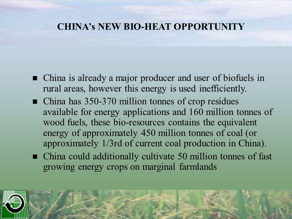China is already a major producer and user of biofuels in rural areas, however this energy is used inefficiently.