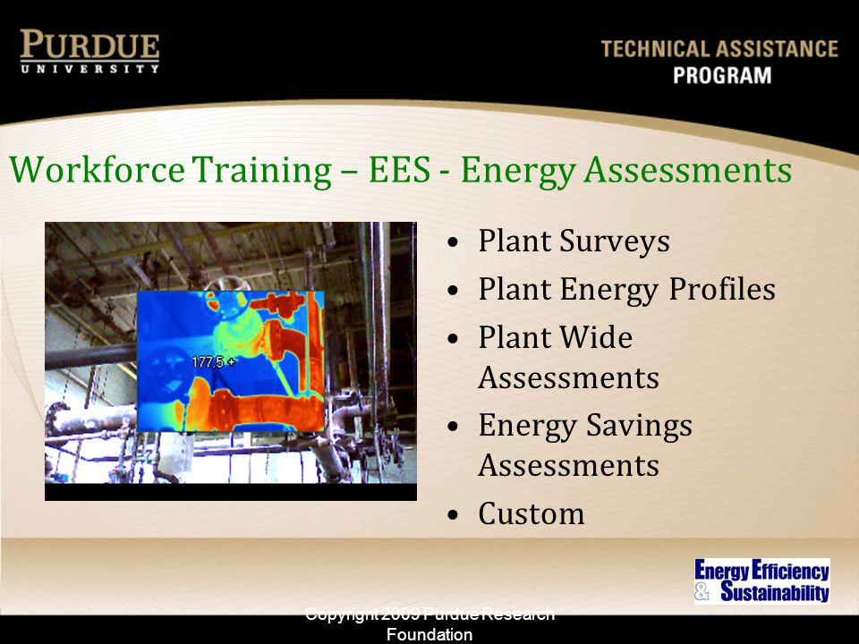 Workforce Training – EES - Energy Assessments Plant Surveys Plant Energy Profiles Plant Wide Assessments Energy Savings Assessments Custom Copyright 2009 Purdue Research Foundation