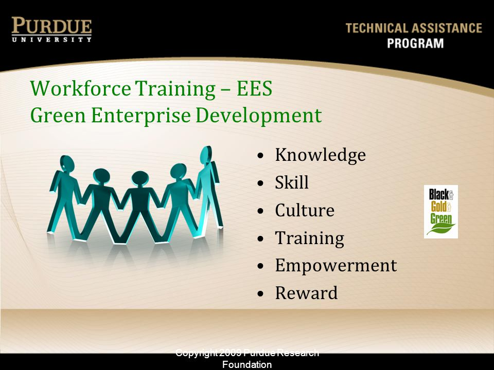 Workforce Training – EES Green Enterprise Development Knowledge Skill Culture Training Empowerment Reward Copyright 2009 Purdue Research Foundation